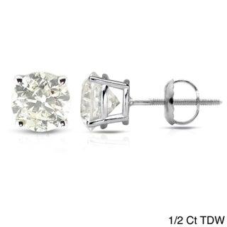 Auriya Platinum 1/2 to 1 1/2ct Clarity-Enhanced Diamond Solitaire Stud Earrings (5 options available)