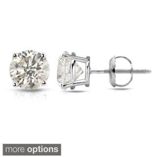 Auriya 14k White Gold 1/2ct to 1 1/2ct TDW Hearts and Arrows Diamond Stud Earrings (J-K SI1-SI2)