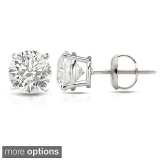 Auriya Platinum 1/2ct - 1 1/2ct TDW Hearts and Arrows Diamond Stud Earrings (H-I, SI1-SI2)