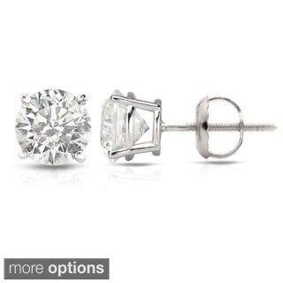 Auriya Platinum 0.50ct to 1.50ct. TDW Round Hearts & Arrows Diamond Stud Earrings