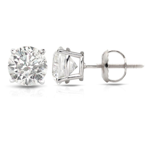 Auriya Platinum 0.50ct to 1.50ct. TDW Hearts and Arrows Diamond Solitaire Stud Earrings
