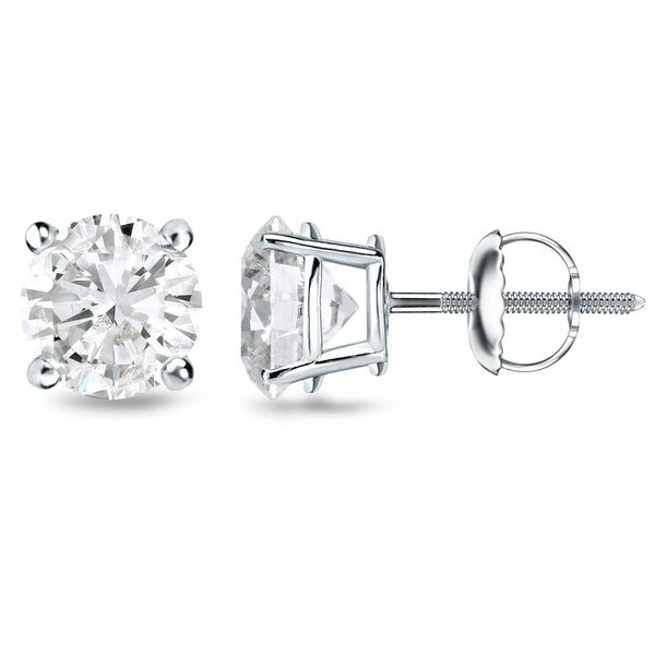Auriya 18k White Gold 1/2-2ct. TW Clarity-Enhanced Diamond Solitaire Stud Earrings