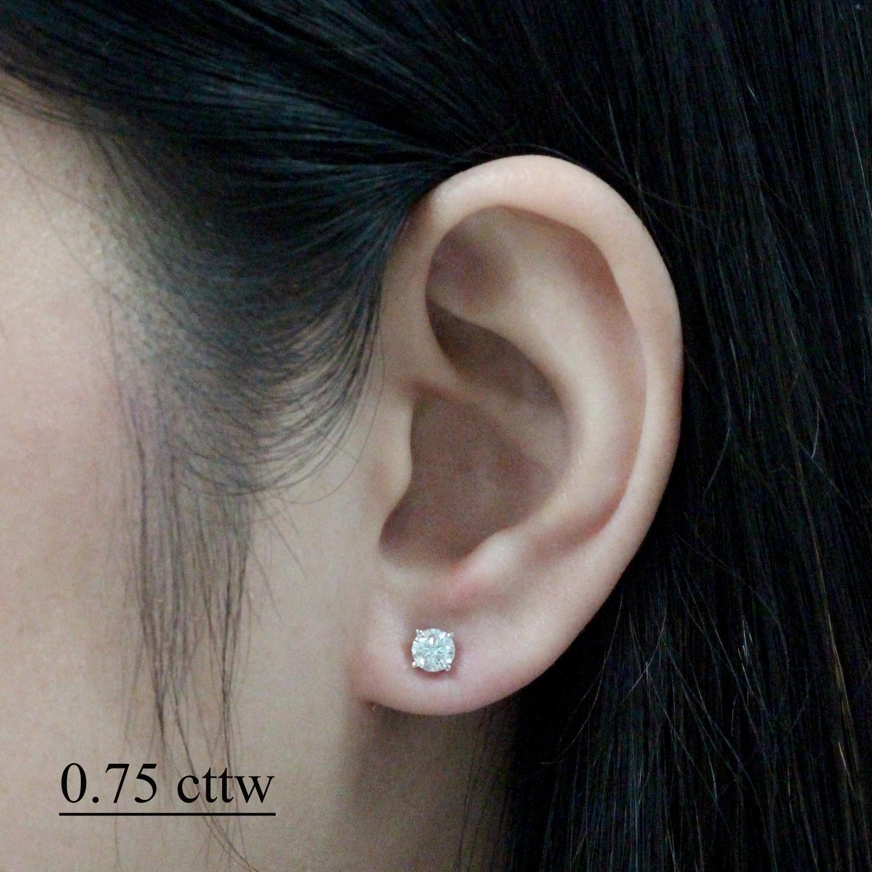 18k White Gold 1 2 To 2ct Tw Round Clarity Enhanced Diamond Stud Earrings By Auriya