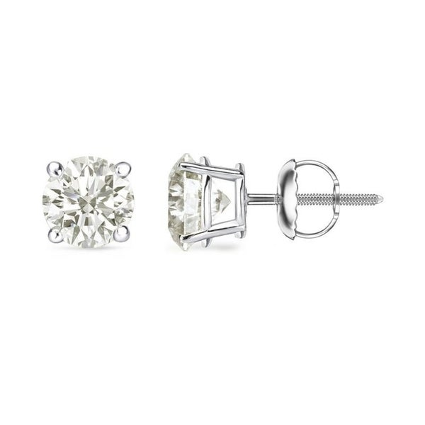18k White Gold 1 2 To 2ct Tw Round Clarity Enhanced Diamond Stud Earrings By