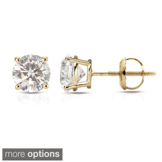 Auriya 14k Yellow Gold 1/2ct to 1 1/2ct TDW Hearts and Arrows Diamond Stud Earrings (J-K SI1-SI2)
