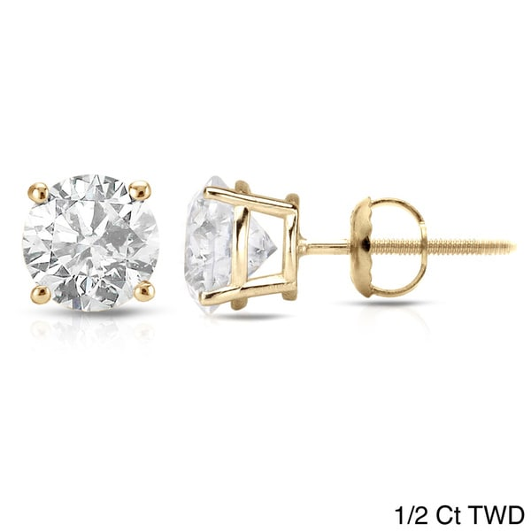 Auriya 18K Yellow Gold 1/2ct to 2ct TDW Clarity-Enhanced Diamond Solitaire Stud Earrings