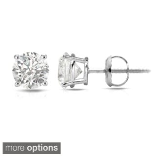 Auriya 14k White Gold 1/2ct to 1 1/2ct TDW Hearts and Arrows Diamond Stud Earrings
