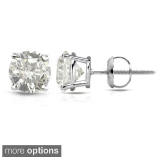 Auriya 18K White Gold 1/2ct to 2ct TDW Clarity-Enhanced Diamond Stud Earrings