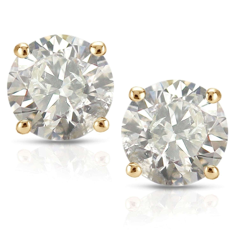 1 2ct To Tw Clarity Enhanced Diamond Stud Earrings 18k Yellow Gold