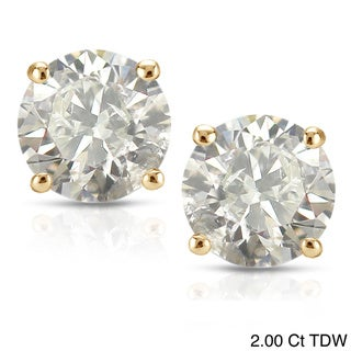 Auriya 18K Yellow Gold 1/2ct to 2ct TDW Clarity-Enhanced Diamond Stud Earrings (J-K, I2-I3)