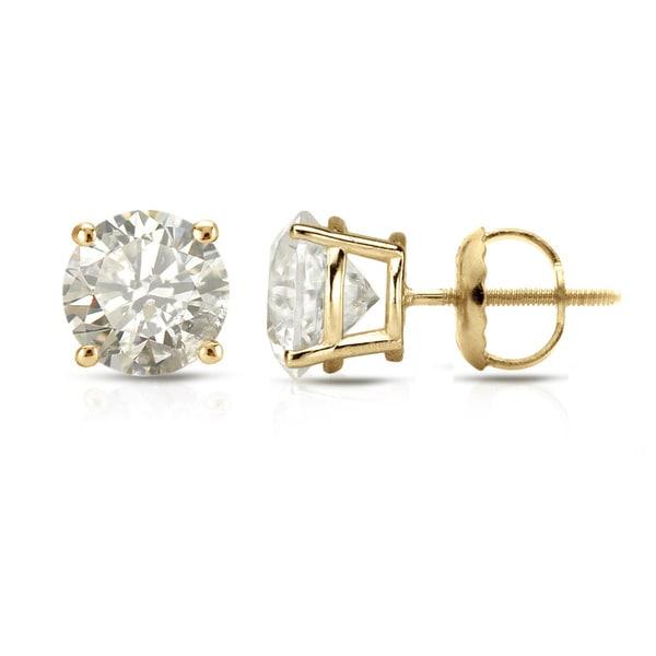 Auriya 18k Yellow Gold Clarity-Enhanced Diamond Solitaire Stud Earrings