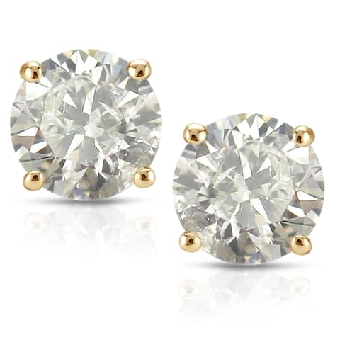 18KT Yellow Gold 1/2ct to 2ct TW Clarity Enhanced Diamond Stud Earrings