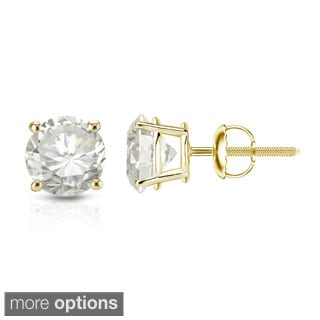 Auriya 14K Yellow Gold Round Diamond Stud Earrings (H-I, VS1-VS2)