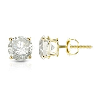 Auriya 14K Yellow Gold Round Diamond Solitaire Earrings