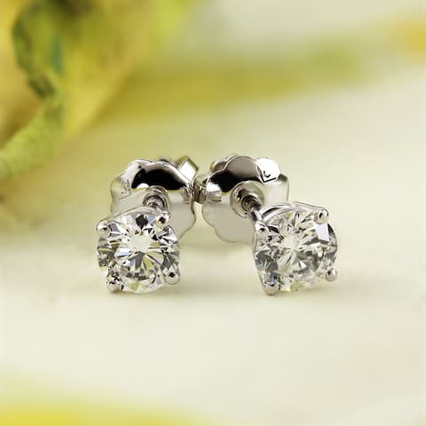 14k White Gold 1/4ct to 1ct TDW Round Solitaire Diamond Stud Earrings