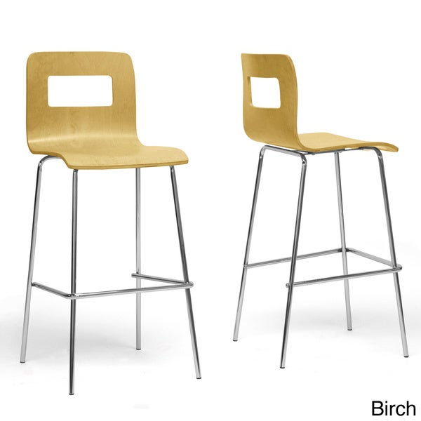 Modern White Wood 29  Bar Stool by Baxton Studio  sc 1 st  Overstock.com & Modern White Wood 29