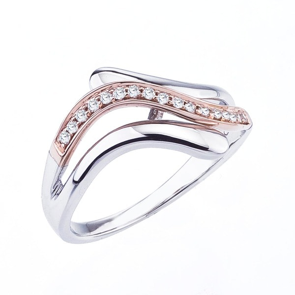 Sterling Silver and 10k Rose Gold 1/8ct TDW Diamond Ring  By Ever One (H-I, I1-I2)