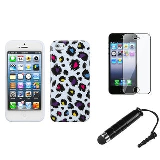 INSTEN Colorful Leopard Phone Case / Stylus/ LCD Protector for Apple iPhone 5/ 5S/ 5C/ SE