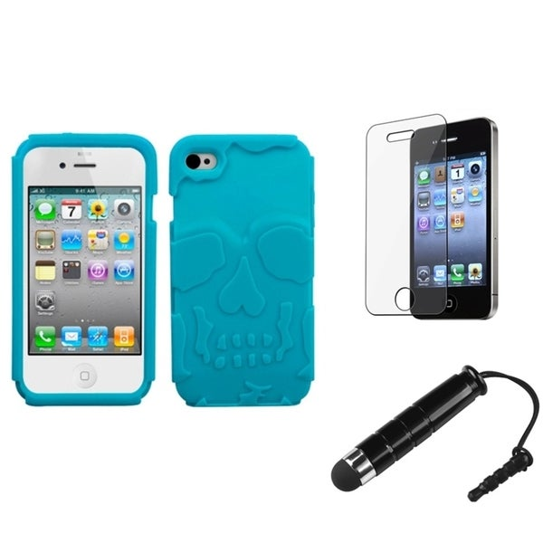 INSTEN Skullcap Phone Case Cover/ Stylus/ LCD Protector for Apple iPhone 4/ 4S