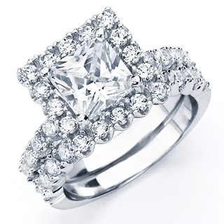 Oliveti Sterling Silver White Princess Cubic Zirconia Bridal-style Ring Set