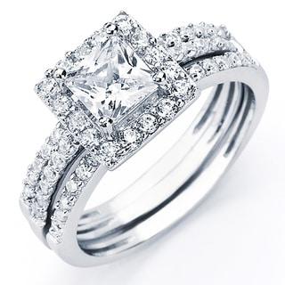 oliveti sterling silver princess cubic zirconia bridal style ring set - Cubic Zirconia Wedding Ring Sets