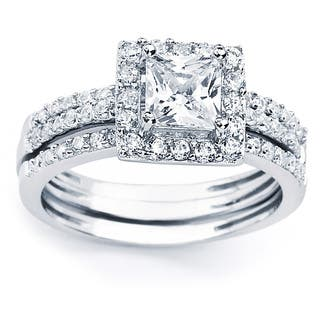 Oliveti Sterling Silver Princess Cubic Zirconia Bridal-style Ring Set|https://ak1.ostkcdn.com/images/products/8210000/P15542601.jpg?impolicy=medium