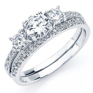 Oliveti Sterling Silver White Round Cubic Zirconia Bridal-style Ring Set (4 options available)