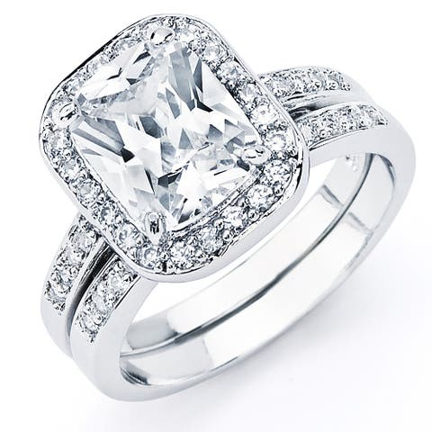 Oliveti Sterling Silver 4.75ct TW Radiant-cut Cubic Zirconia Bridal Ring Set