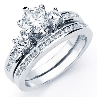 Oliveti Sterling Silver Round Cubic Zirconia Bridal Style Ring Set