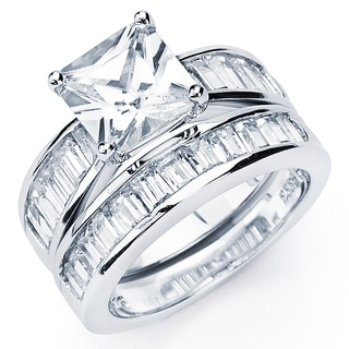 Baguette Cubic Zirconia Rings Gold Sliver Rings Overstockcom