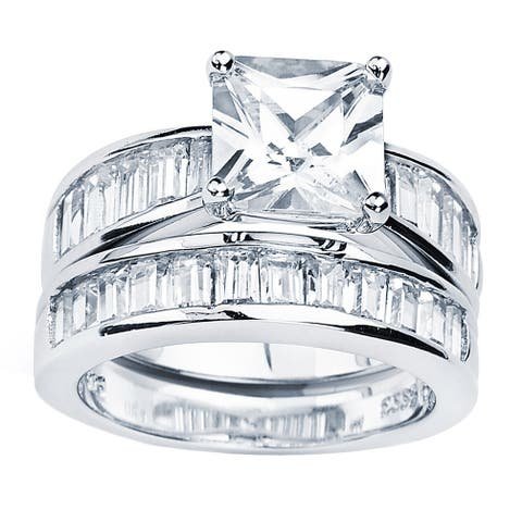 Oliveti Sterling Silver Radiant Cubic Zirconia Bridal-style Ring Set