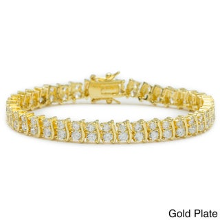 Simon Frank Goldtone or Silvertone Cubic Zirconia Tennis Bracelet