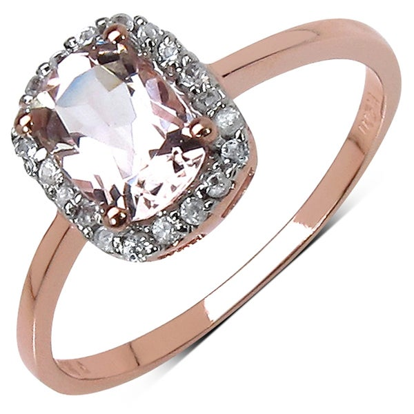 10k Rose Gold 1.20 Ct Genuine Morganite and Cubic Zirconia Ring