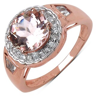 10k Rose Gold 2 1/5ct TGW Morganite and White Zircon Ring