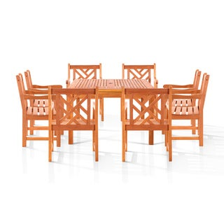 Eco-friendly Melborne 9-piece Wood Outdoor Dining Set