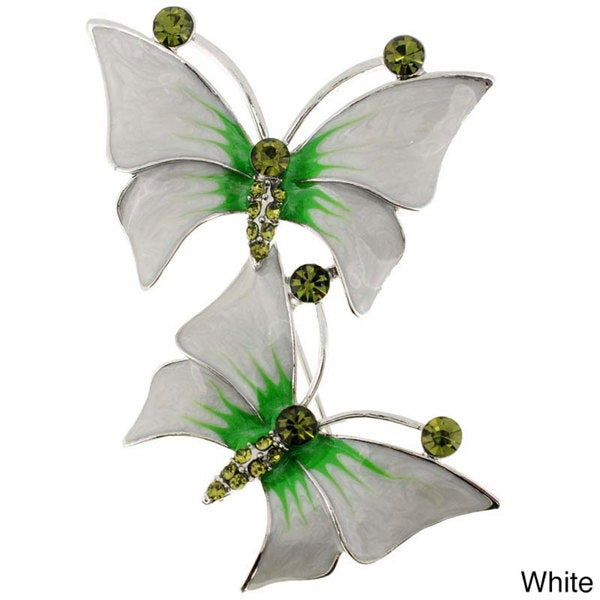 Silvertone Colored Crystal Butterfly Brooch