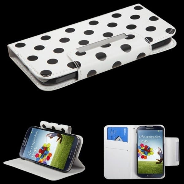 INSTEN Black Dots/ White Wallet Phone Case Cover for Samsung Galaxy S4 i9500