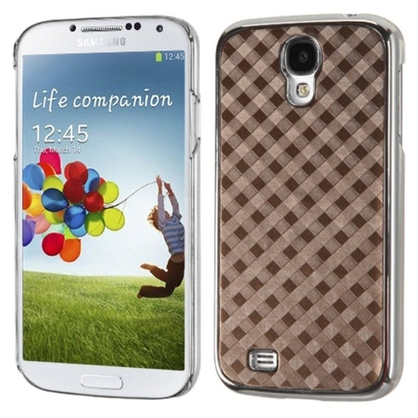 INSTEN Brown Diagonal Plaid Executive Phone Case Cover for Samsung Galaxy S4 i9500
