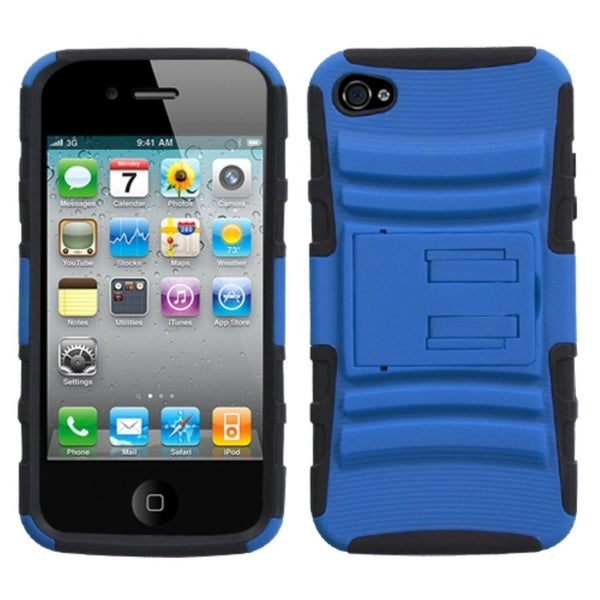 INSTEN Dark Blue/ Black Armor Stand Phone Case Cover for Apple iPhone 4S/ 4
