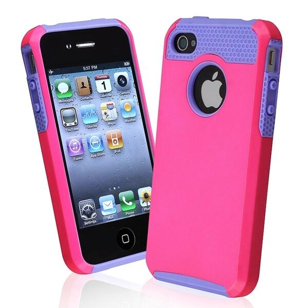INSTEN Light Purple TPU/ Pink Hard Plastic Hybrid Phone Case Cover for Apple iPhone 4/ 4S
