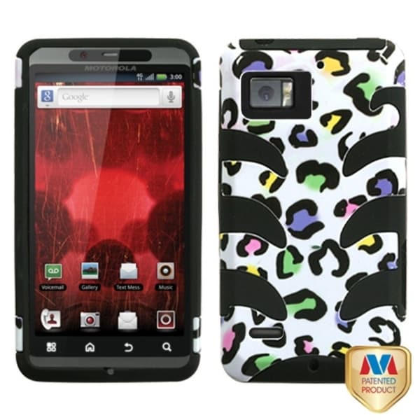INSTEN Colorful Leopard/ Black Phone Case Coverfor Motorola XT875 Droid Bionic