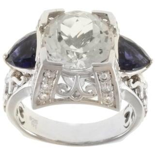 Dallas Prince Sterling Silver White Topaz, Iolite and White Sapphire Ring