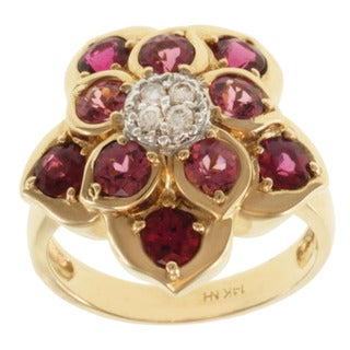Michael Valitutti 14k Yellow Gold Rubelite, Pink Tourmaline and Diamond Ring
