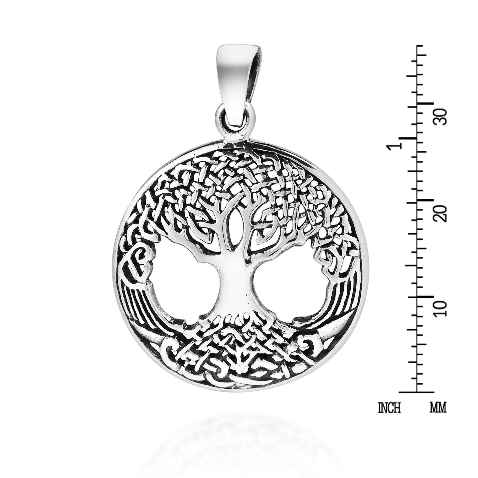 Tree of Life Necklace Handmade fine silver dog tag charm Celtic tree w// stars