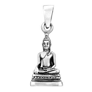 Handmade Silver Buddha Image in Meditating Posture Pendant (Thailand)