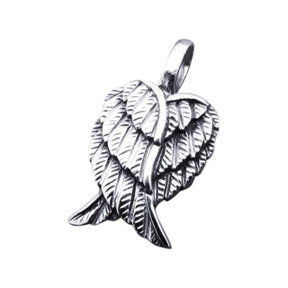 Sterling Silver Petite Heart-Shaped Angel Wings Pendant (Thailand)