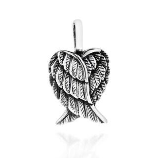 Delightful Petite Heart-Shaped Angel Wings Sterling Silver Pendant