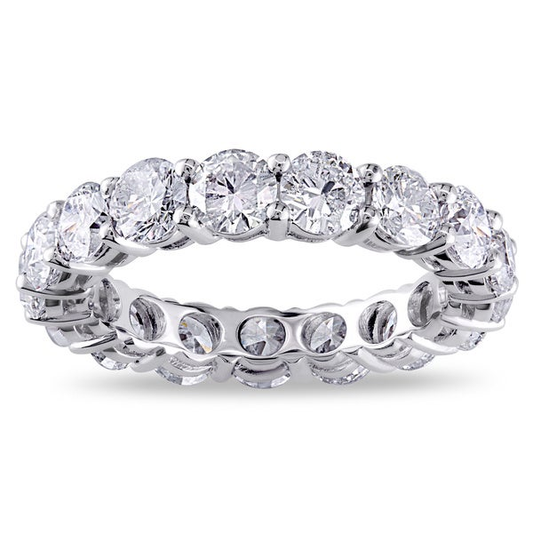 Miadora Signature Collection 18k White Gold 4ct TDW Certified Diamond Eternity Ring