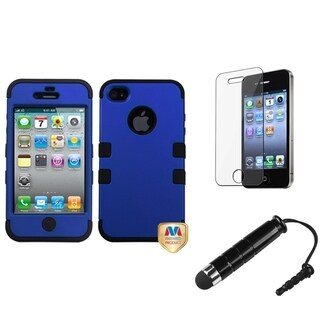 INSTEN Blue TUFF Phone Case Cover/ Stylus/ LCD Protector for Apple iPhone 4/ 4S