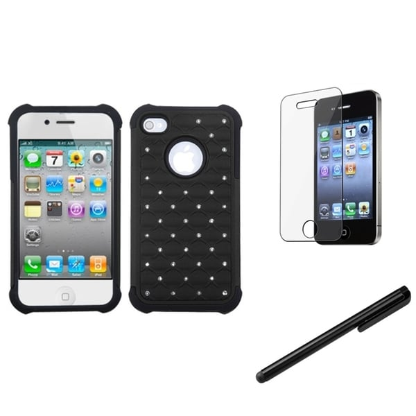 INSTEN TotalDefense Phone Case Cover/ Stylus/ LCD Protector for Apple iPhone 4/ 4S